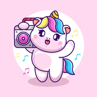 Cute unicorn listening music with boombox cartoon