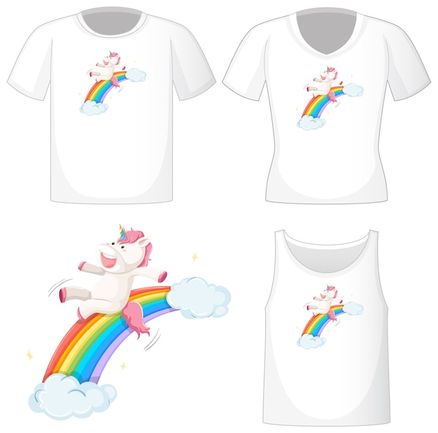 Cute unicorn logo on different white shirts isolated on white background Premium Vector