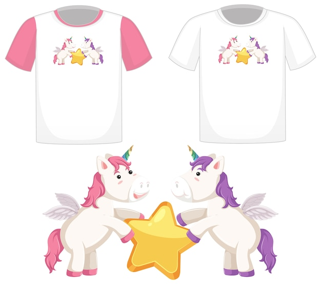 Cute unicorn logo on different white shirts isolated on white background