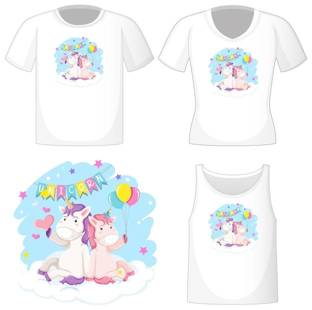 Logo di unicorno carino su camicie bianche diverse isolato su priorità bassa bianca