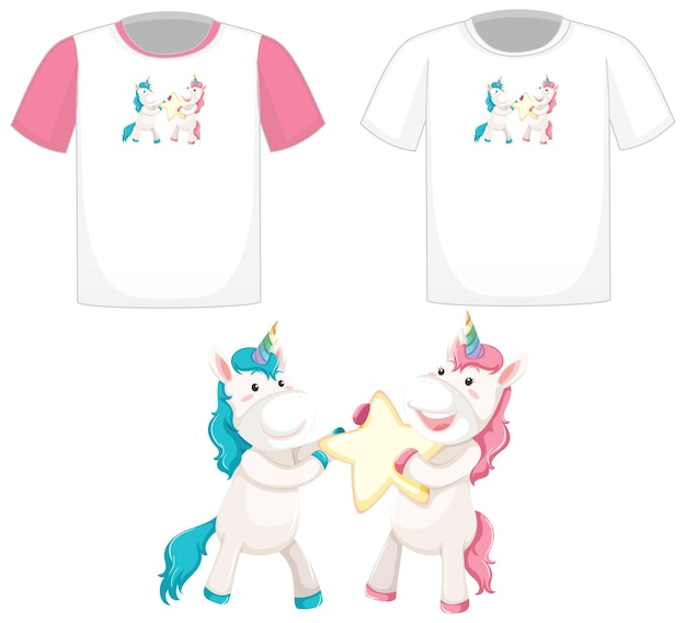 Cute unicorn logo on different white shirts isolated on white background