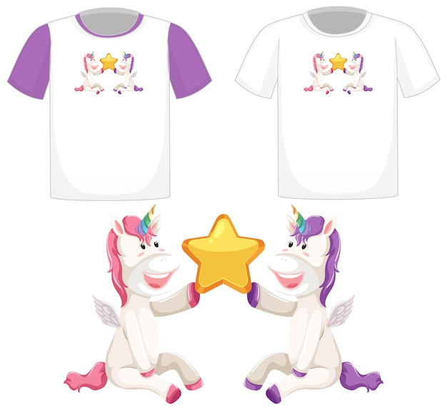 Cute unicorn logo on different white shirts isolated