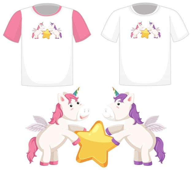 흰색 배경에 고립 된 다른 흰색 셔츠에 귀여운 유니콘 로고