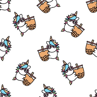 Cute unicorn loves bubble tea cartoon seamless pattern