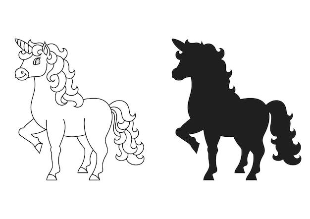 귀여운 유니콘 마법의 요정 말 아이들을위한 색칠하기 책 페이지 검은 실루엣