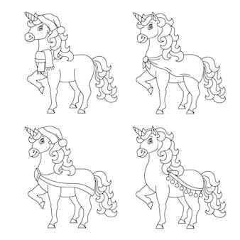 Милый единорог волшебная сказочная лошадь раскраска для детей