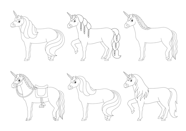 귀여운 유니콘 마법의 요정 말 아이들을 위한 색칠하기 책 페이지