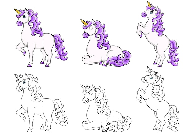 Cute unicorn magic fairy horse coloring book page for kids