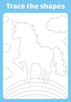 Cute unicorn magic fairy horse trace and color