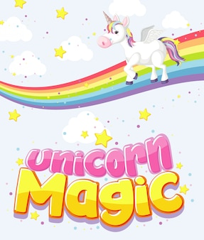 Cute unicorn magic text logo on sky background