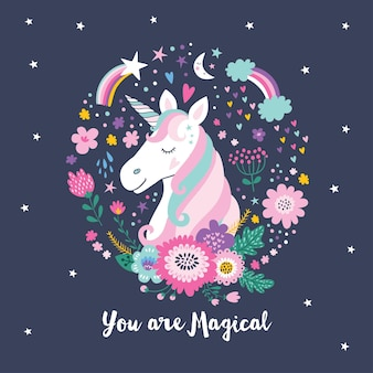 Cute unicorn. magical unicorn.