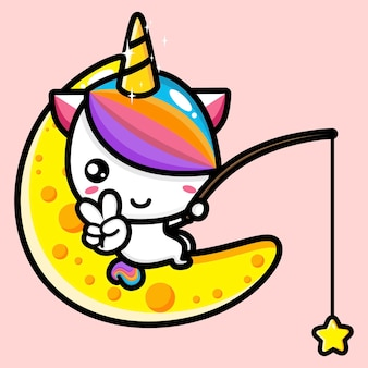 Cute unicorn mascot   design