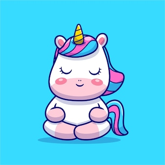 Cute unicorn meditation cartoon icon illustration.
