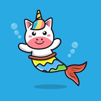 Cute unicorn mermaid cartoon illustration