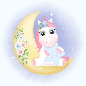 Cute unicorn on the moon hand drawn illustration