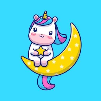 Cute unicorn on moon  illustration. unicorn mascot cartoon character. animal  concept isolated