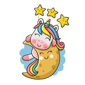 Cute unicorn on the moon isolated on white background.