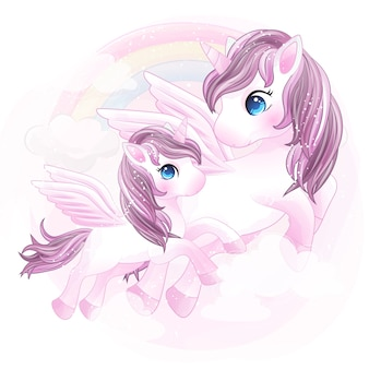 Cute unicorn mother and baby