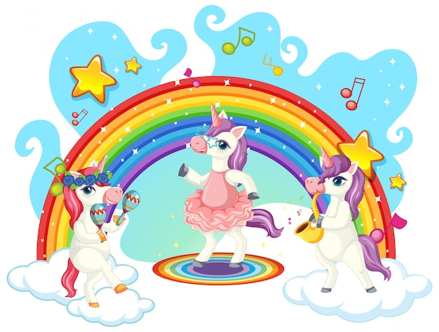 Cute unicorn musical band