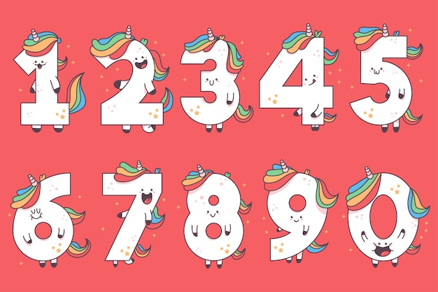 Cute unicorn numbers  cartoon illustration isolated on background.