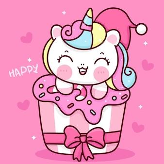 달콤한 컵 케이크 귀여운 동물에 귀여운 유니콘