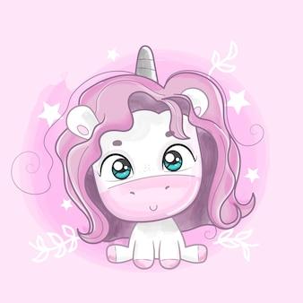 Cute unicorn painted in watercolors