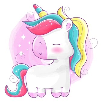 Cute unicorn painted in watercolors