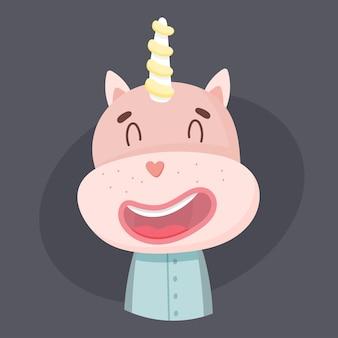 Cute unicorn in pajamas.