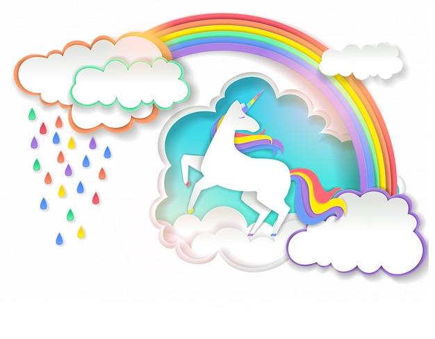 Cute unicorn  in paper art style