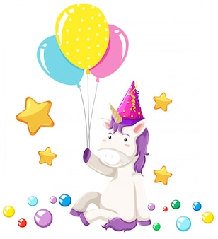 Cute unicorn party scene