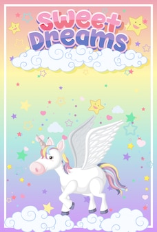 Cute unicorn  on pastel background color