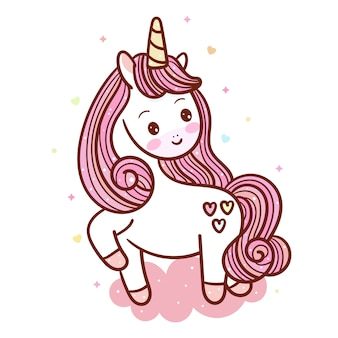 Cute unicorn  on pastel cloud
