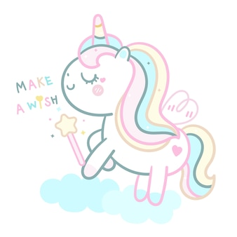 Cute unicorn  pastel holding magic wand