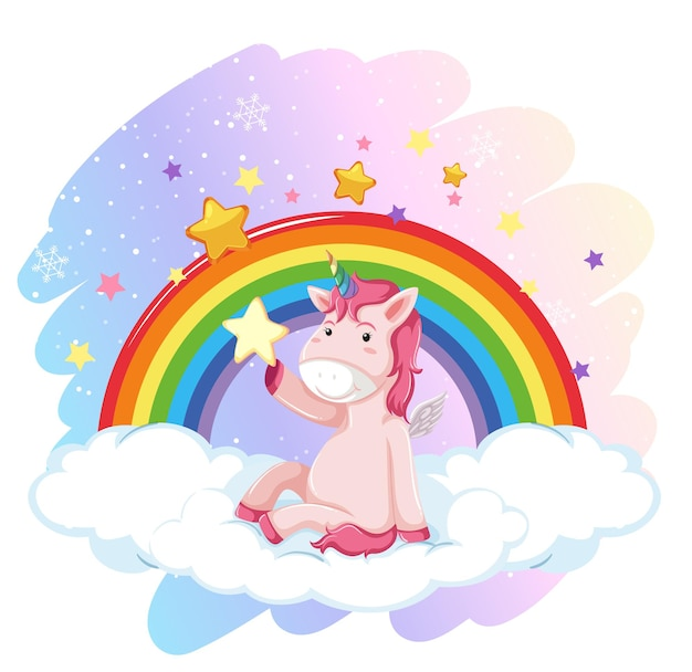 Cute unicorn in the pastel sky with rainbow