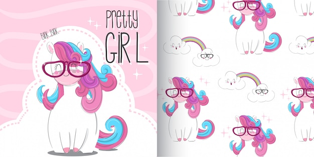 Cute unicorn pattern set, hand draw illustration-vector