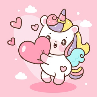 Cute unicorn pegasus cartoon hug heart kawaii style