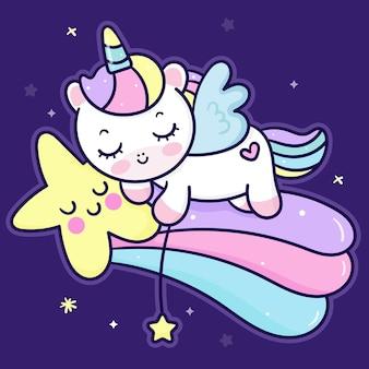 Cute unicorn pegasus cartoon slepp on star kawaii animal character