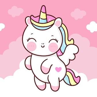 Cute unicorn pegasus cartoon on sweet cloud kawaii animal