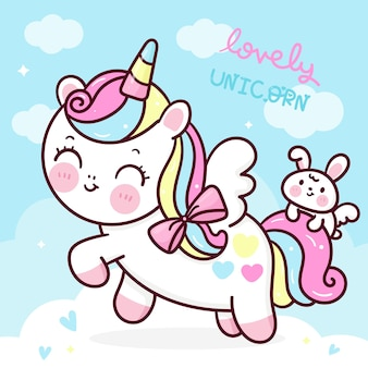 Cute unicorn pegasus cartoon with bunny rabbit kawaii animal