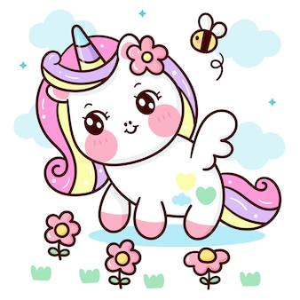 Cute unicorn pegasus cartoon with flower and bee kawaii animal