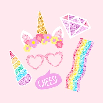 Cute unicorn photo booth party props