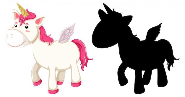 Unicorno carino in colore rosa e silhouette in personaggio dei cartoni animati