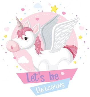 Cute unicorn and pink sign with stars