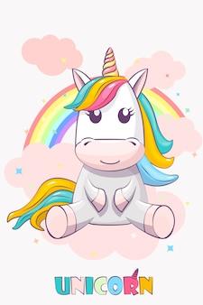 Cute unicorn on pink sky and rainbow