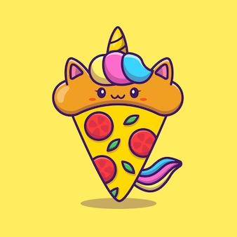 Милый единорог пицца мультфильм значок иллюстрации. концепция иконка корма для животных изолированные премиум. плоский мультяшном стиле