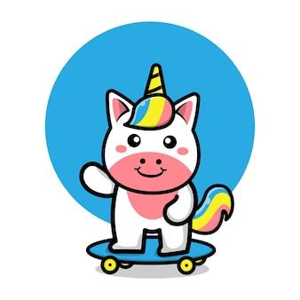 かわいいユニコーンはスケートボードの漫画イラストを再生します