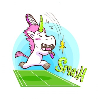 Cute unicorn play tennis