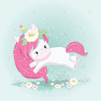 Cute unicorn playing on the garden