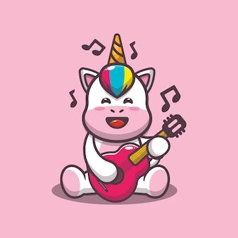 Cute unicorn playing guitar cartoon vector illustration