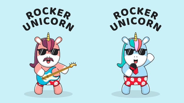 Cute unicorn playing guitar and singing